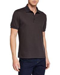 d0e176bb29 Men's Silk-blend Polo Shirt - Brown