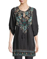 Tolani - Nicoli Tassel-tie Ruched-sleeve Printed Floral-embroidered Tunic Dress - Lyst