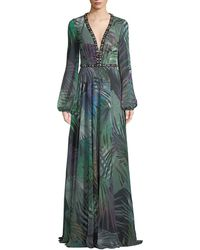 Jovani - Long-sleeve Chiffon Gown In Palm-leaf Print - Lyst