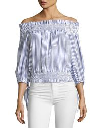 Caroline Constas Lou Off-the-shoulder Striped Crop Top - Blue