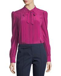 Trina Turk - Bow-tie Pleated Long-sleeve Silk Blouse - Lyst