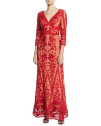 Marchesa notte - Guipure Lace V-neck 3/4-sleeve Gown - Lyst