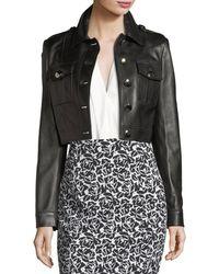 Michael Kors - Button-front Cropped Plongé Leather Jacket - Lyst