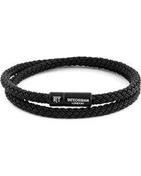 Tateossian Men's Braided Rubber Double-wrap Bracelet, Size L - Black