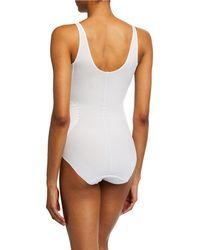 Tc Fine Intimates No Side Show Body Briefer Bodysuit - White