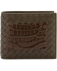 Bottega Veneta - Intrecciato Leather Wallet W/crocodile Inset - Lyst