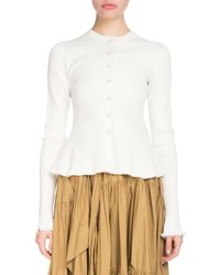 Proenza Schouler - Button-front Long-sleeve Ribbed Peplum Cardigan - Lyst