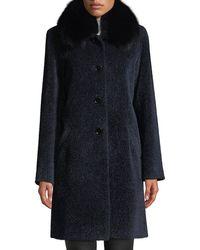Sofia Cashmere Cocoon Button Coat W/ Fur Collar - Blue