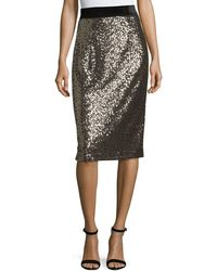 MILLY | Sequins Classic Midi Skirt | Lyst