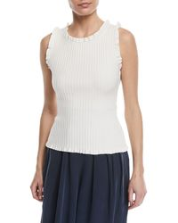 MILLY - Sleeveless Ruffle Ribbed Top - Lyst