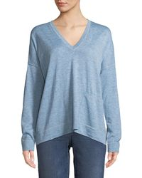 Eileen Fisher - Petite Fine -alpaca Topstitch V-neck Pullover Sweater - Lyst