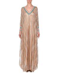 Missoni - V-neck Long-sleeve 3-d Metallic Zigzag Long Kaftan Gown - Lyst
