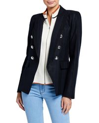 Veronica Beard Miller Striped Dickey Jacket - Blue