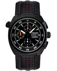 Tockr Men's 45mm Air Defender Chronograph Watch Black