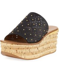 Chloé Camille Perforated Stud Slide Sandals - Black