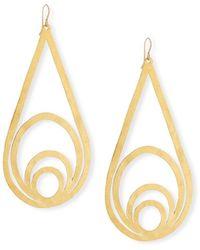 Devon Leigh Hammered Teardrop Dangle Earrings - Metallic