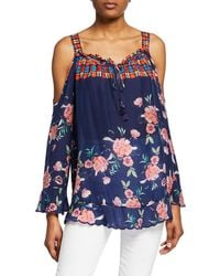Johnny Was Oceane Printed Cold-shoulder Long-sleeve Blouse - Blue