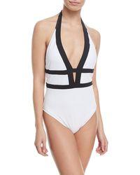 482cd3fbe6a La Blanca Threading Scoop-neck Cross-back One-piece Swimsuit in Black - Lyst