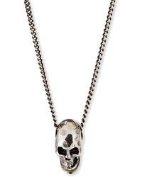 Emanuele Bicocchi - Men's Hammered Skull Pendant Necklace, Silver - Lyst