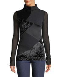 Fuzzi - Long-sleeve Velvet Patchwork Turtleneck Top - Lyst
