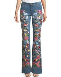 AO.LA by alice + olivia - Ryley Floral-embroidered Low-rise Bell Jeans - Lyst