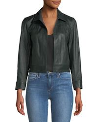 Theory Shrunken Open-front Leather Jacket - Green