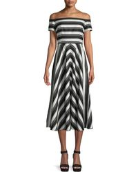 Lela Rose - Off-the-shoulder Striped Fit-and-flare Dress - Lyst