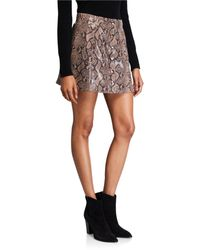 Astr Come Slither Python-print Button-front Skirt - Multicolour