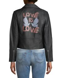 Rebecca Minkoff - Wes Love Doves Leather Motorcycle Jacket - Lyst