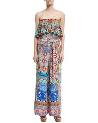 Camilla - Strapless Wide-leg Printed Jumpsuit - Lyst