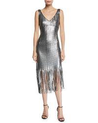 Nanette Lepore - Funkytown Sequin Mid-length Slip Dress With Fringe - Lyst