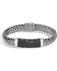 John Hardy - Men's Classic Chain Sterling Silver Bracelet With Black Sapphires - Lyst