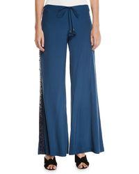 Figue Estela Sequin-striped Wide Leg Pants - Blue