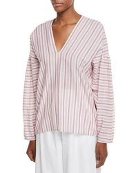 Vince   Variegated Stripe Long-sleeve Pullover Top   Lyst