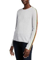 The Racer Cashmere Sweater W Striped Sleeves Gray