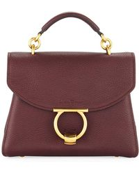 Ferragamo - Small Gancio Vela Soft Flap Top Handle Bag - Lyst