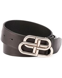Balenciaga Men's Logo Buckle Belt - Black