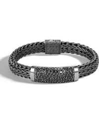 John Hardy - Men's Classic Chain Flat Sterling Silver Bracelet With Black Rhodium & Sapphires - Lyst