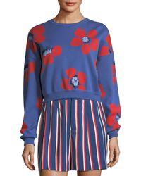 Alice + Olivia - Leena Floral-print Crop Sweatshirt - Lyst