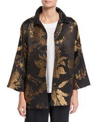 Eskandar - 3/4-sleeve Golden Floral-jacquard Silk Jacket - Lyst