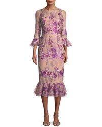 David Meister - Floral Embroidered Trumpet-sleeve Dress W/ Flounce Hem - Lyst