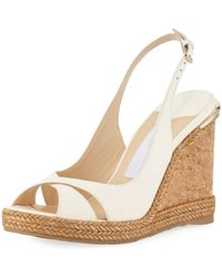 bccb95cebf003 Lyst - Jimmy Choo Amely 105mm Leather Cork Wedge Sandals in Black
