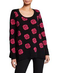 Joan Vass Petite Falling Rose Intarsia Cotton Sweater - Multicolor