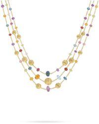 Marco Bicego Africa 18k Mixed Gemstone 3-strand Necklace - Metallic