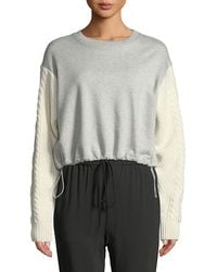ac0feb7d35a7d9 3.1 Phillip Lim - French Terry Crewneck Sweatshirt With Cable-knit Sleeves  - Lyst
