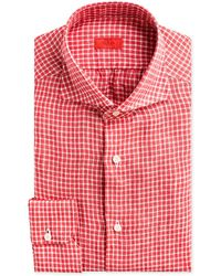 Isaia Gingham Check Linen Dress Shirt - Red
