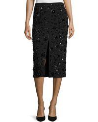 Michael Kors - Sequined-floral Front-slit Pencil Skirt Black - Lyst