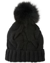 Loro Piana Cashmere Chunky Knit Beanie Hat W/ Fur Pompom - Black