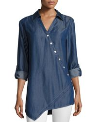 Go> By Go Silk - Denim Asymmetric Button-detail Shirt - Lyst