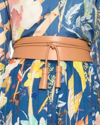 Agnona Calfskin Leather Belt With Braided Rope - Blue